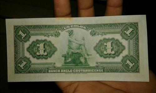 billete fórmula del banco anglo de costa rica  un colón.