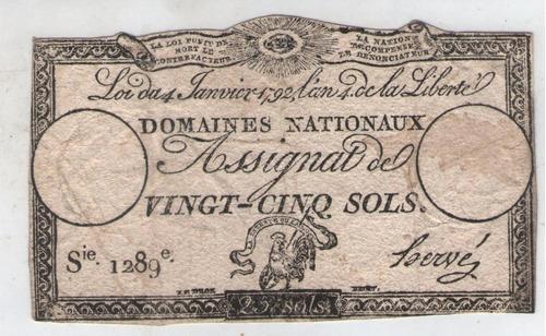 billete  francia 25 sols 1792 pick a55  mb