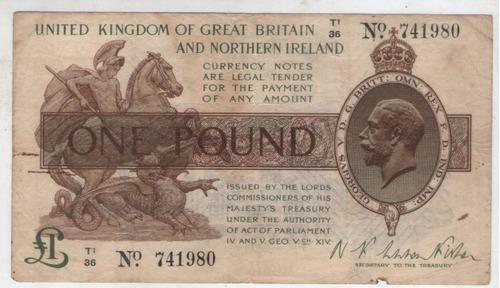 billete gran bretaña 1 libra 1928 pick 361a  mb+