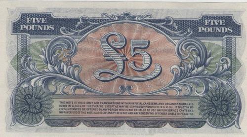 billete gran bretaña 5 libras  1958 pick m23 s/c