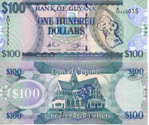 billete guyana 100 dolares unc apo