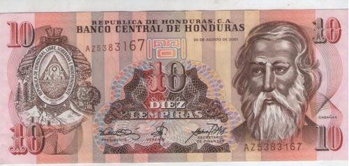 billete honduras 10 lempiras 2001 pick 86  s/c
