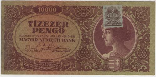 billete hungria 100000  pengo 1945 pick 119c  exc+