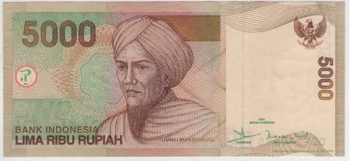 billete indonesia 5000 rupias 2001 pick 142a  s/c