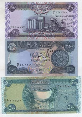 billete irak  set 50-250-500 dinar 2003  s/c