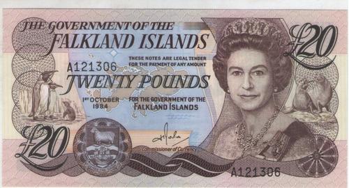 billete islas malvinas (falkland) 20 libras 1984 pick 15 s/c
