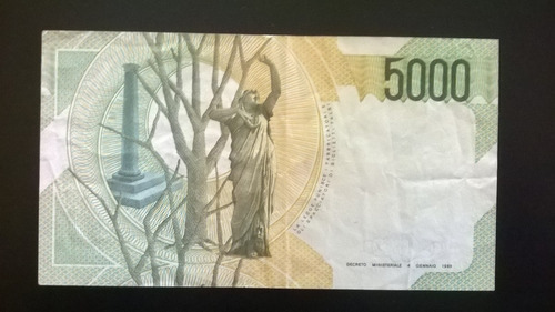 billete italia 5000 liras 1985  excelente estado