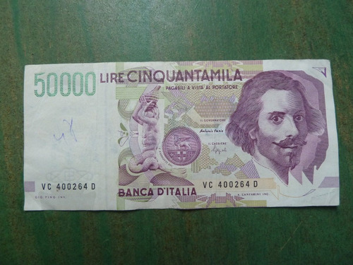 billete italia 50000 liras 1992 - vp