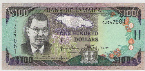 billete jamaica 100 dolares 1-3-94 pick 76a  s/c