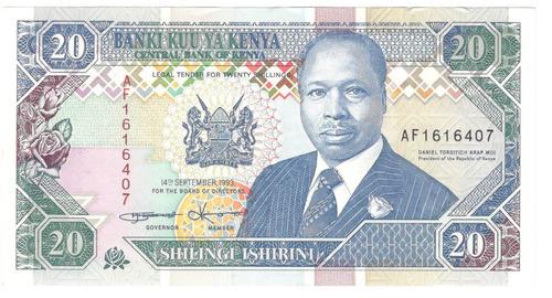 billete kenya 20 chelines (1993) corredor y estadio futbol