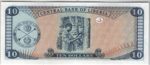 billete liberia 10 dolares 2003  pick 27  s/c