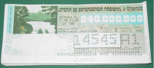 billete loteria antiguo 11/7/81 lago nahuel huapi bariloche