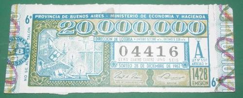 billete loteria antiguo 28/12/62 provincia de buenos aires