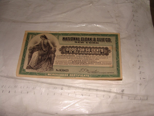 billete o vale de 50 cents , año 1912 , national cloak & sui