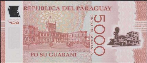billete paraguay 5000 guaranies 2017. tren plastico unc *bm*
