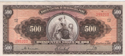 billete peru 500 soles 1966 excelente+