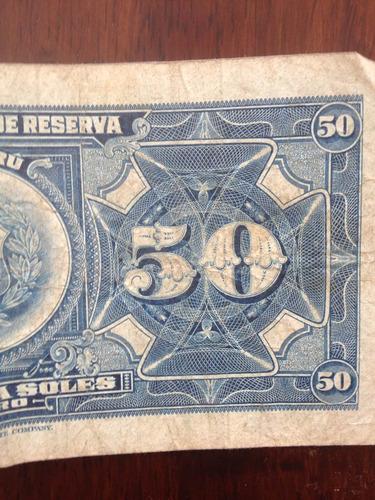 billete perú antiguo año 1965 / 50 soles de oro