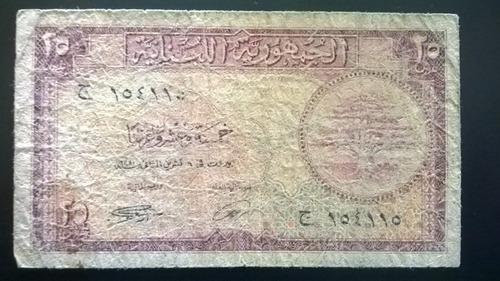 billete república del líbano 25 piastres 1950