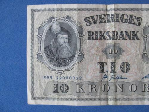 billete suecia 10 koronas banco de suecia año 1959