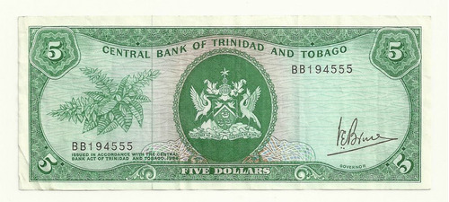 billete trinidad & tobago 5 dollars (1977) escaso
