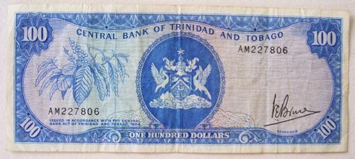 billete trinidad y tobago 100 dolares 1977 (1964) muy raro