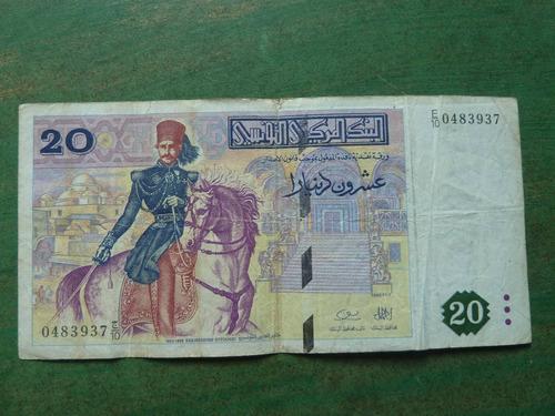 billete tunez 20 dinars 1987  - vp