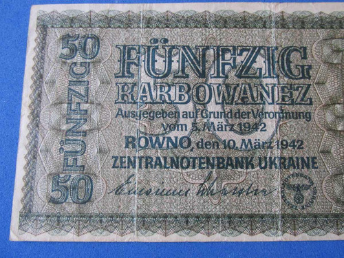 billete ucrania 50 funfzig ocupacion alemana ww 2 ww 1942