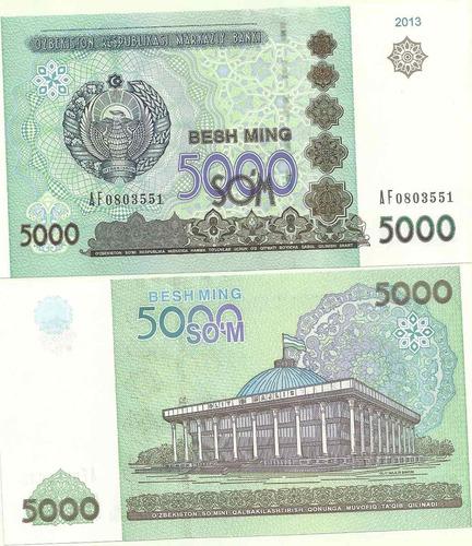billete uzbekistan 5.000 som año 2013