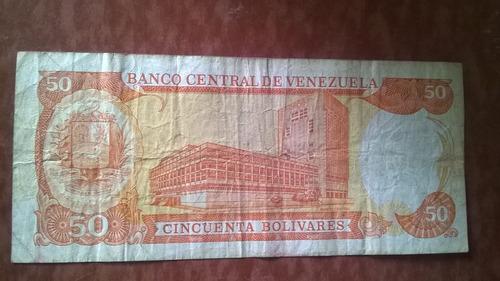 billete venezolano de 50 año 1998