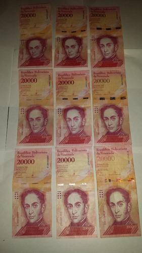 billete venezolanos de 20mil cono viejo.