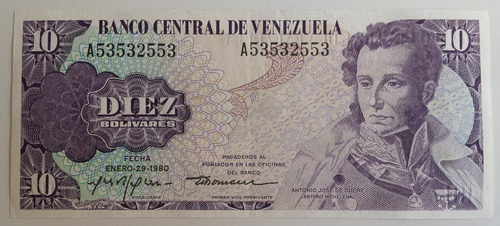 billete venezuela 10 bs enero 29 1980 a8 conmemorativo au+