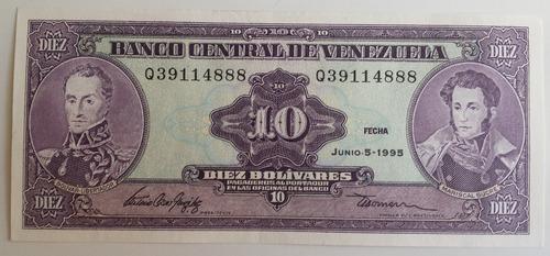billete venezuela 10 bs junio 5 1995 q8 unc