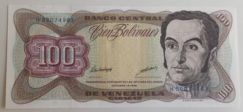 billete venezuela 100 bolívares octubre 13 1998 h8 unc