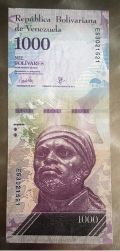 billete venezuela 1000 bs 23 de marzo de 2017 e8 au/unc