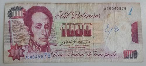billete venezuela 1000 bs agosto 1991 a8 error ortográfico f