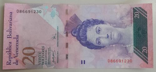 billete venezuela 20 bs 20 marzo 2007 d8 unc 1ra emisión bsf