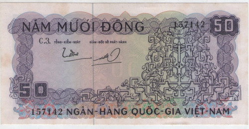 billete  vietnam 50  dong 1966  pick 17  s/c-