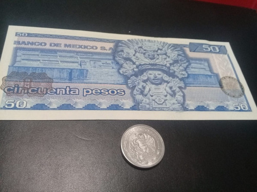 billete y moneda 50 pesos juarez