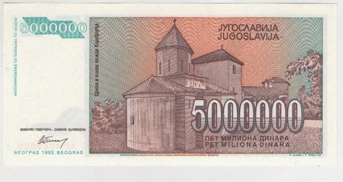 billete yugoslavia 5000000 dinara 1993 pick 132 s/c