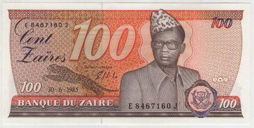 billete zaire 100 zaires  1985 pick 29b s/c