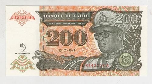 billete zaire 200 n zaire  1994 pick 61  s/c
