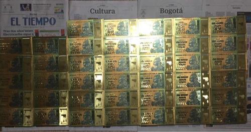 billete zimbabwe 100 trillones dolares gold
