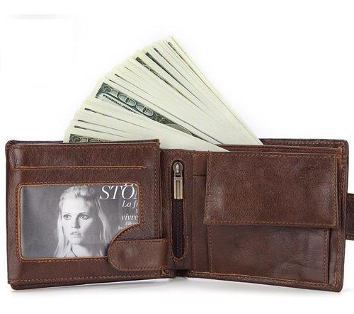 billetera cuero café+2 rifd