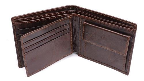 billetera cuero  café  bloqueo tarjetas (caja)