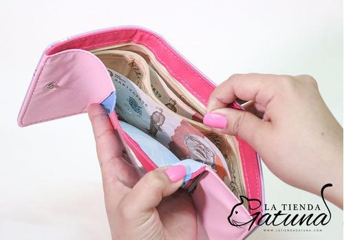 billetera de 3 gatos - lila - monedero - cartera - mujer
