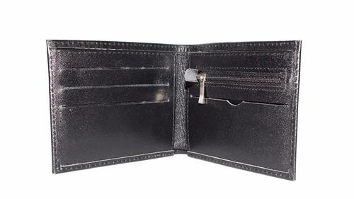 billetera de cuero bolsillo cierre - regalo para hombre