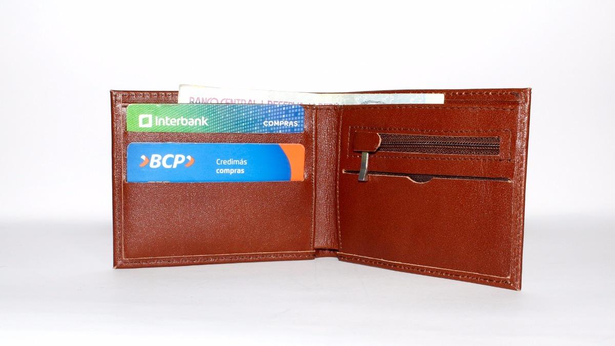 f25f44e78 billetera de cuero bolsillo cierre - regalo para hombre. Cargando zoom.