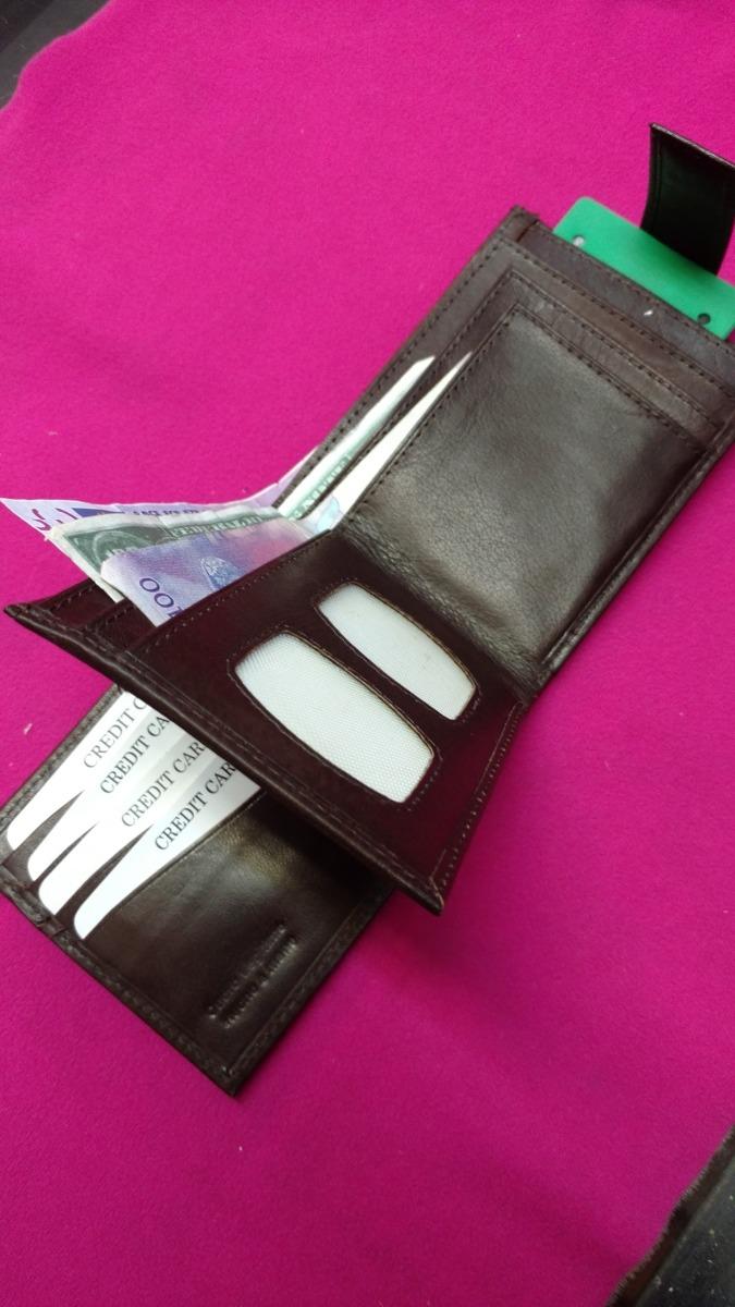 3a4dfdeec billetera de cuero con cierre pasador rabillo color marron *. Cargando zoom.