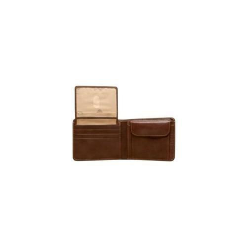 billetera de cuero de prima con caja de identificación
