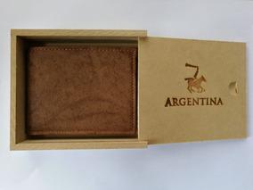 nuevo estilo abb22 44298 Billetera De Cuero Hombre Artesanal + Caja De Madera Regalo